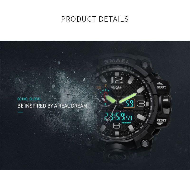Termékleírás. SMAEL 1545 ® Multifunkciós Vízálló Led Sport Karóra - Fekete  Kék ae3ec151c1