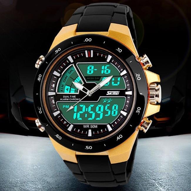 SKMEI 1016 ® Multifunkciós Vízálló Led Sport Karóra - Fekete Arany 48eeff09ed