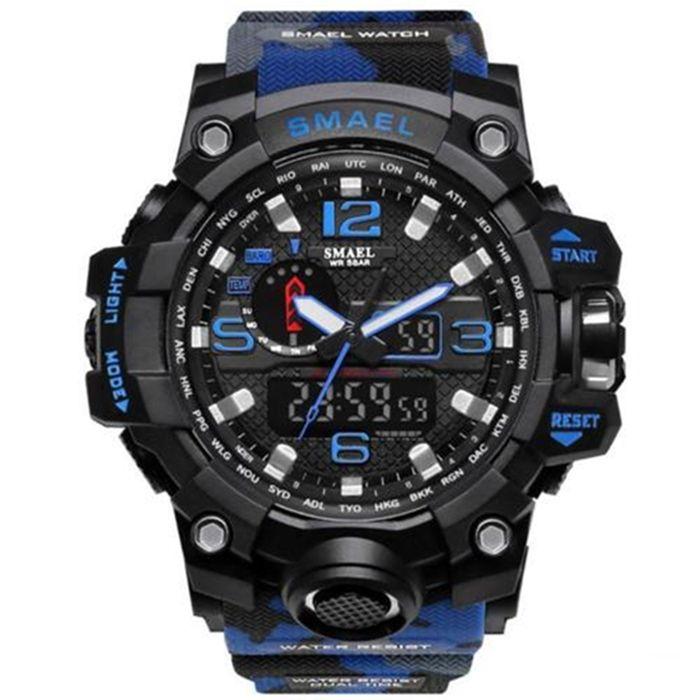 SMAEL 1545 ® Multifunkciós Vízálló Led Sport Karóra Terepmintás Kék 18a9f2ed39